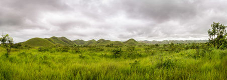 Panorama of african hills in Congo, Mountain of the Moon. Royalty Free Stock Photo