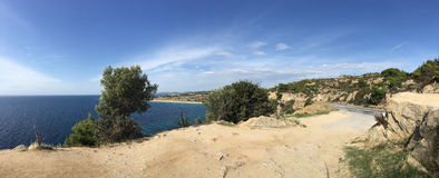 Panorama from agios Ioannis Beach Royalty Free Stock Photography