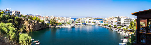 Panorama Agios Nikolaos jezioro Voulismeni Obraz Royalty Free