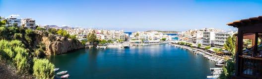 Panorama of Agios Nikolaos Lake Voulismeni Royalty Free Stock Image