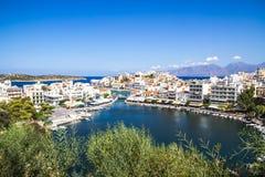 Panorama of Agios Nikolaos Lake Voulismeni Stock Images