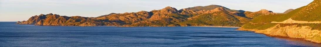 Panorama Agriates linia brzegowa w północnym Corsica Obraz Stock