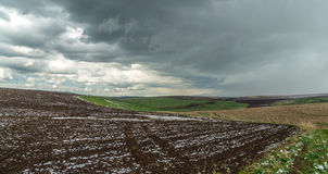 Panorama of agricultural fields in the highlands Royalty Free Stock Photo