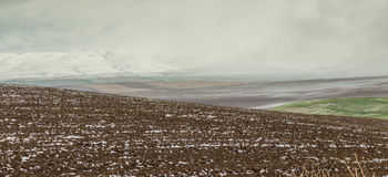 Panorama of agricultural fields in the highlands Stock Photography