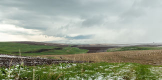 Panorama of agricultural fields in the highlands Royalty Free Stock Images