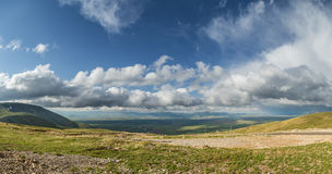 Panorama of agricultural fields in the highlands Royalty Free Stock Image