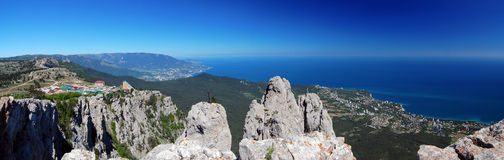 Panorama with Ah-Petri. Crimea. Panorama with Ah-Petri in the Crimea in the afternoon Royalty Free Stock Photos