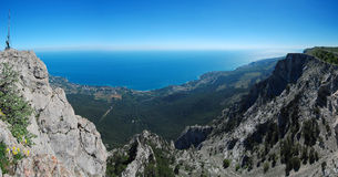 Panorama with Ah-Petri. Crimea. Panorama with Ah-Petri in the Crimea in the afternoon Stock Photo