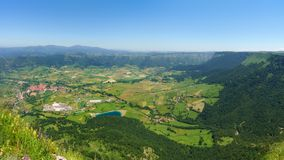 Panorama of Aiara valley with Orduna village. Panorama of Aiara valley with the Orduna village royalty free stock images