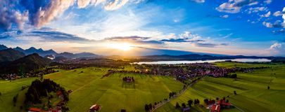 Panorama from the air sunset Forggensee and Schwangau, Germany, Royalty Free Stock Photography