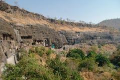 Panorama of Ajanta caves near Aurangabad, Maharashtra state in I Royalty Free Stock Images