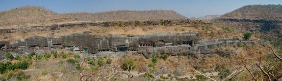 Panorama of Ajanta caves near Aurangabad, Maharashtra state in I Royalty Free Stock Photos