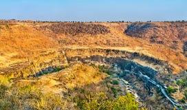 Panorama of the Ajanta Caves. UNESCO world heritage site in Maharashtra, India. Panoramic view of the Ajanta Caves. A UNESCO world heritage site in Maharashtra stock images