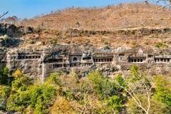 Panorama of the Ajanta Caves. UNESCO world heritage site in Maharashtra, India. Panoramic view of the Ajanta Caves. A UNESCO world heritage site in Maharashtra stock photography