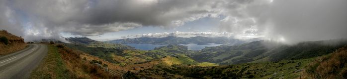 Panorama of akaroa in New Zealand Stock Photography