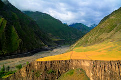 Panorama of Akhtychay river and valley, Midjakh Akhty Dagestan Russia Royalty Free Stock Images