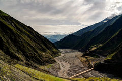 Panorama of Akhtychay river and valley, Midjakh Akhty Dagestan Russia Royalty Free Stock Image