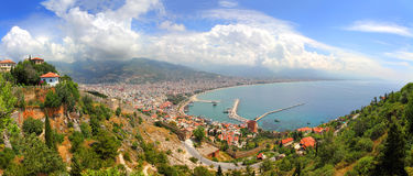 Panorama of Alanya Turkey from fortress Stock Image