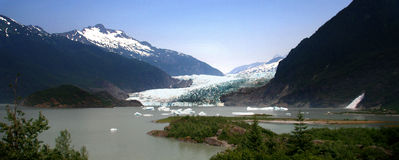 panorama- alaska glaciärmendenhall royaltyfria foton