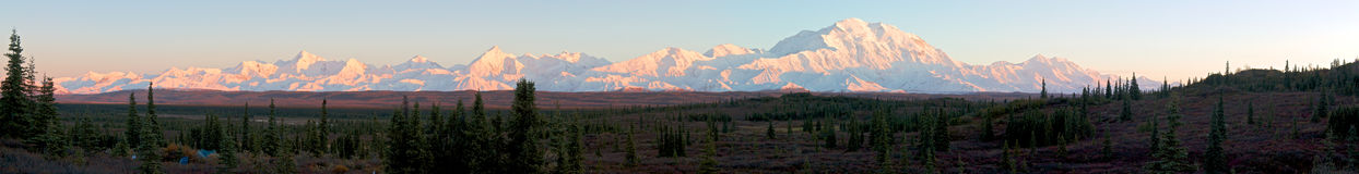 Panorama of Alaska range during sunset Stock Photos