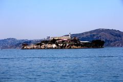 Panorama of Alcatraz Island with famous prison building, San Francisco, USA.  stock photo