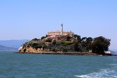 Panorama of Alcatraz Island with famous prison building, San Francisco, USA.  stock images