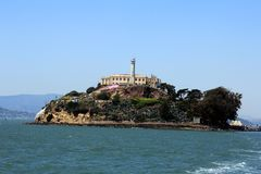 Panorama of Alcatraz Island with famous prison building, San Francisco, USA.  royalty free stock photos