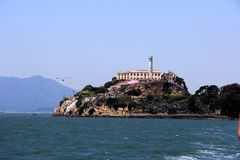Panorama of Alcatraz Island with famous prison building, San Francisco, USA.  royalty free stock image
