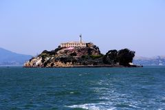 Panorama of Alcatraz Island with famous prison building, San Francisco, USA.  stock photography