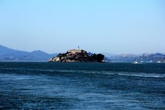 Panorama of Alcatraz Island with famous prison building, San Francisco, USA.  stock image