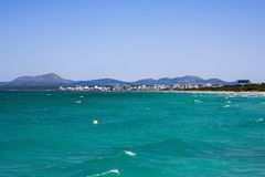 Panorama of Alcudia bay and Can Picafort town, Majorca Stock Photo