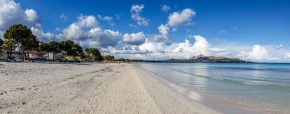 Panorama of ALcudia Beach and Bay of Alcudia stock photos
