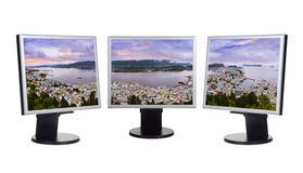 Panorama of Alesund Norway in computer monitors Royalty Free Stock Images