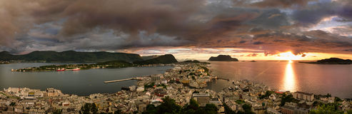 Panorama from Alesund view point on Akslafjell Stock Photography