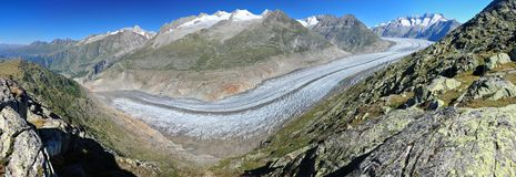 Panorama of Aletsch Glacier and summits of Valais Royalty Free Stock Image