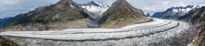 Panorama of the Aletsch glacier Stock Photography