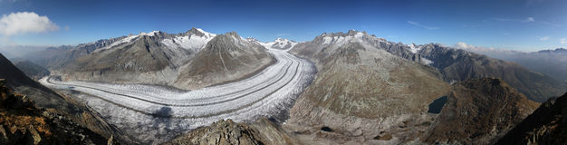 Aletschglacier. Panorama of Aletschglacier from Eggishorn stock images