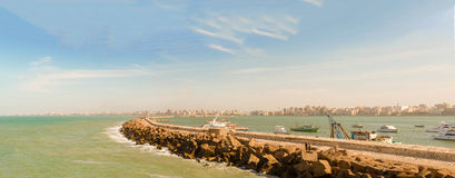 Panorama of Alexandria Bay filled with boats Royalty Free Stock Photos