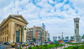 Panorama of Alexandria central streets, Egypt Royalty Free Stock Photos