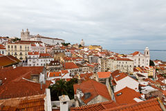 Panorama of Alfama Quarter in Lisbon Stock Photography