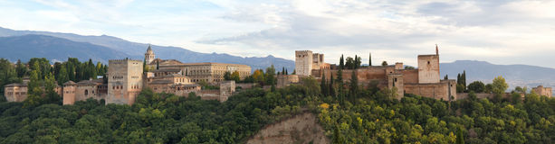 Panorama of the Alhambra stock images