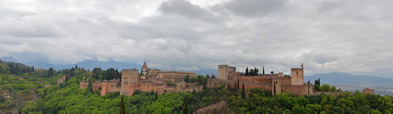 Panorama- Alhambra grenada Royaltyfri Fotografi