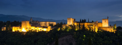 Panorama of the Alhambra at night royalty free stock photo