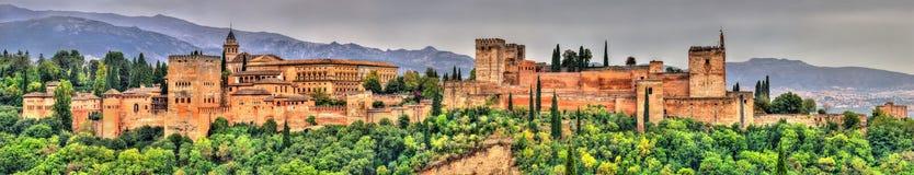 Panorama Alhambra, pałac i fortecy kompleks w Granada, Hiszpania Obraz Stock