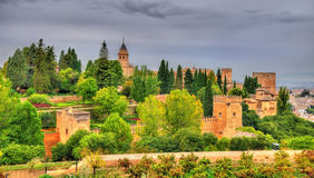 Panorama of the Alhambra, a palace and fortress complex in Granada, Spain Royalty Free Stock Images