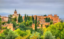 Panorama of the Alhambra, a palace and fortress complex in Granada, Spain Royalty Free Stock Image