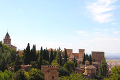 Panorama of Alhambra. Panoramic view on ancient city of Alhambra Stock Photos