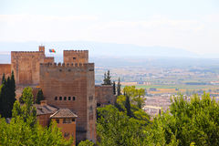 Panorama of Alhambra. Panoramic view on ancient city of Alhambra Royalty Free Stock Photo
