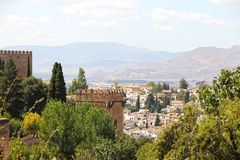 Panorama of Alhambra. Panoramic view on ancient city of Alhambra Stock Image