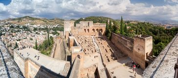 Panorama of the Alhambra. Panoramic views of the Alhambra, the internal and external structure, as seen from the Alhambra Royalty Free Stock Image